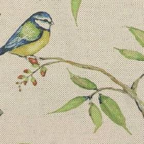 Dawn Chorus - Natural - Fabric made of cotton and linen featuring bird on a branch