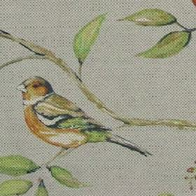 Dawn Chorus - Sky - Bird on a branch motif on cotton and linen fabric