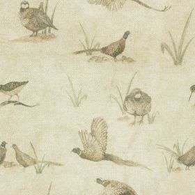 Bolton Hall - Small - Light shades of grey, beige and green making up a muted pheasant, partridge and grass print on cotton-linen fabric