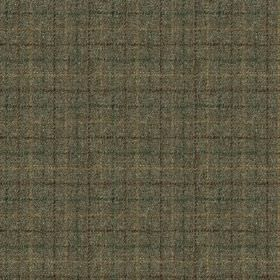 Harris Tweed Bentham Check - Moss - A simple beige, dark turquoise and dark cocoa coloured grid woven into battleship grey coloured 100% woo