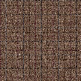 Harris Tweed Bentham Check - Peat - 100% wool fabric made in rich maroon-grey, covered with a simple grid in dark shades of blue, brown, plu