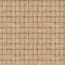 Harris Tweed Bentham Check - Sand - Terracotta and marine blue colours making up a simple grid woven into light latte coloured fabric made f