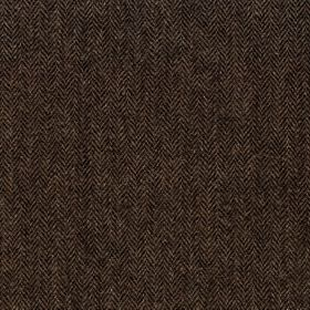 Harris Tweed Herringbone - Peatland - Very dark brown and charcoal coloured fabric made from herringbone patterned 100% wool, with a small,