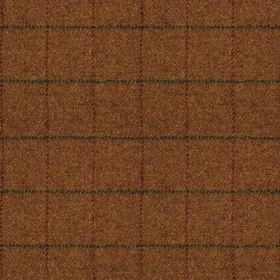 Harris Tweed - Huntsman Check Burnt Umber - Warm reddish brown coloured 100% wool fabric woven with thin vertical lines in marron & thin dar