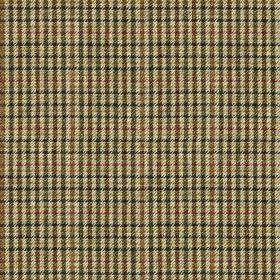 Ilkley - Green - Light beige coloured 100% wool fabric woven with a small, simple checked design in dark brown, grey, plum & blue shades