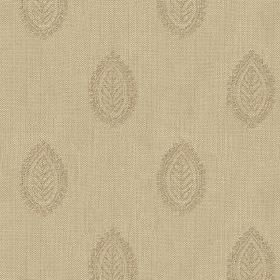 Ambleside Leaf - Clay - 100% cotton fabric in beige, printed with rows of small, subtle leaf patterned teardrop shapes in pale grey
