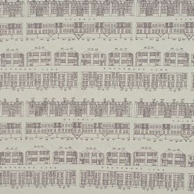 Brownmoor Lane - Heather - House print 100% cotton fabric with simple drawings of terraced rows in two different shades of grey