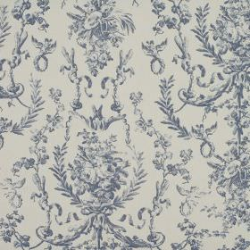 Delancy - Wedgewood - Navy blue flowers and leaves ornately patterning fabric made entirely from cotton in light grey
