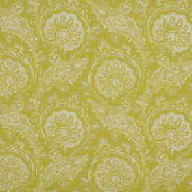 Josette - Lemon - Bright lime green coloured 100% cotton fabric with a detailed, intricate, repeated pattern in white