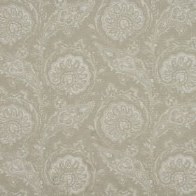 Josette - Linen - Dove grey and white coloured fabric made entirely from cotton, with a pattern which is repeated, intricate and detailed