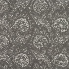 Josette - Slate - Stylishly patterned fabric in dark grey and light grey, with an ornate repeated design made from 100% cotton