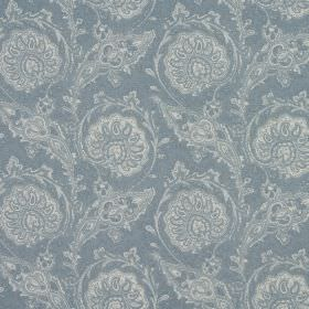 Josette - Wedgewood - 100% cotton fabric with a detailed, stylish, intricate repeated pattern in pale grey-white and light dusky blue