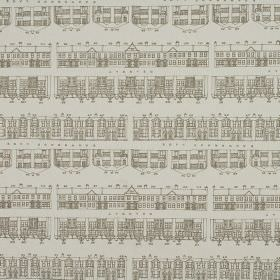 Brownmoor Lane - Linen - Two different shades of grey-beige making up a 100% cotton fabric covered with rows of terraced house designs