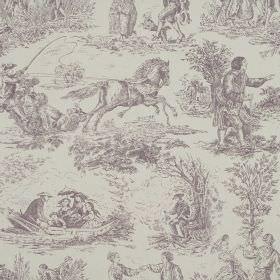Toile - Heather - Grey drawings of outdoor scenes including horses, people, boats & trees on a background of light grey 100% cotton fabric