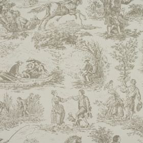 Toile - Linen - Two similar shades of grey making up 100% cotton fabric featuring drawings of people, horses, boats and trees