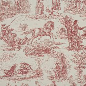 Toile - Rose - 100% cotton fabric in light grey, patterned with outdoor scenes, people, horses, boats and trees drawn in brick red