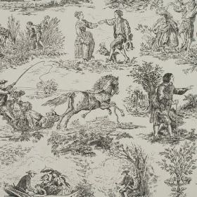 Toile - Slate - Graphite coloured drawings against a lighter grey 100% cotton fabric background with designs of people, horses and boats