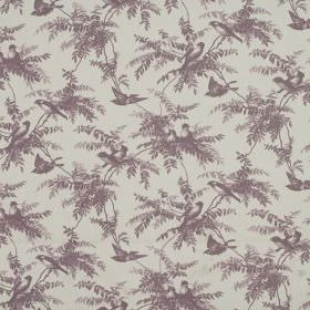 Uccello - Heather - A repeated pattern of dusky purple birds and fern-like leaves on a dull grey 100% cotton fabric background