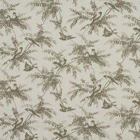 Uccello - Linen - 100% cotton fabric in grey, patterned repeatedly with birds and leaves in dark forest green