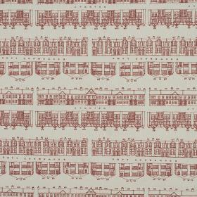 Brownmoor Lane - Rose - Rows of drawings of houses in dusky red printed repeatedly on grey fabric made from 100% cotton