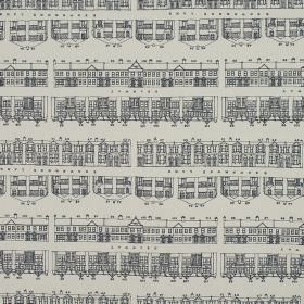 Brownmoor Lane - Wedgewood - Dark blue-grey houses drawn simply and in rows on fabric made from light grey coloured 100% cotton