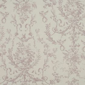 Delancy - Heather - 100% cotton fabric in light grey with a subtle but ornate leafy pattern in a pale shade of purple-grey
