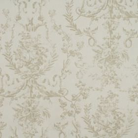 Delancy - Linen - A subtle, ornate pattern in light grey on a n even lighter grey coloured 100% cotton fabric background
