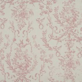 Delancy - Rose - Fabric made from 100% cotton in light grey, patterned with an ornate, leafy design in a pale shade of pink