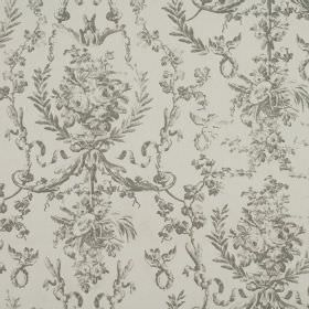 Delancy - Slate - An ornate, leafy pattern in grey-green on a background of 100% cotton fabric in a paler shade of grey-green