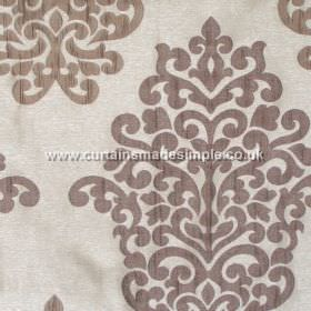 Arkara - Latte - Classic swirl design in latte grey on pale light grey fabric