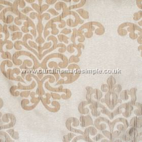 Arkara - Natural - Classic swirl design in champagne yellow on natural white fabric