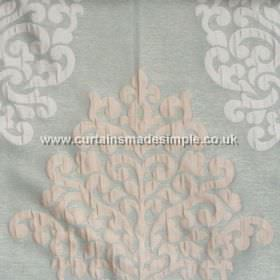 Arkara - Duck Egg - Classic swirl design in white on duck egg blue fabric