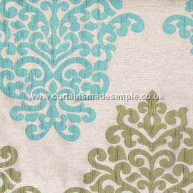 Arkara - Aqua - Classic swirl design in aqua blue on light grey fabric