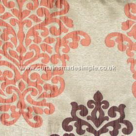 Arkara - Terracotta - Classic swirl design in terracota orange on pale light grey fabric