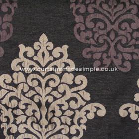 Arkara - Aubergine - Classic swirl design in aubergine purple on dark brown fabric