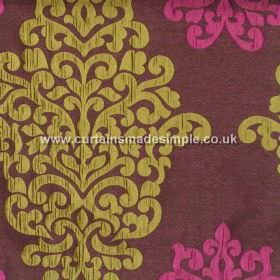 Arkara - Fuchsia - Classic swirl design in lime green on deep purple fabric