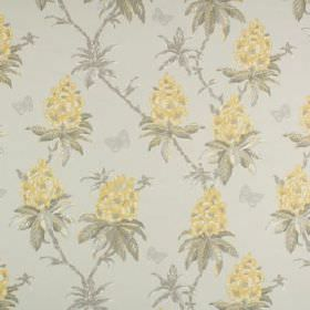 Ascot - Buttercup - Pale yellow florals printed with light grey leaves on a background of 100% cotton fabric in a lighter shade of grey