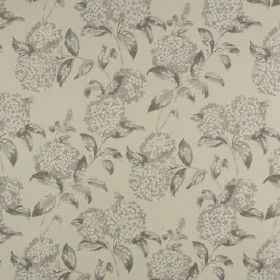 Avebury - Linen - Fabric made from 100% cotton, covered with a repeated floral and leaf design in several different light shades of grey