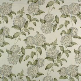 Avebury - Mineral - Several different light and dark shades of grey making up a leaf and round floral design on fabric made from 100% cotton