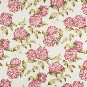 Avebury - Raspberry - White 100% cotton fabric printed with round, bright pink flowers and small, creamy gold coloured leaves