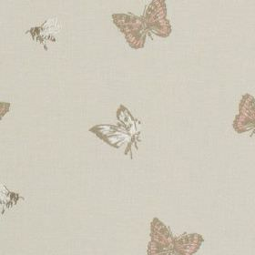 Dartmount - Coral - Small white, light grey and pinkish beige coloured butterflies printed on a pale grey 100% cotton fabric background