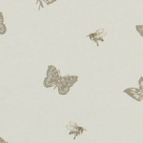Dartmount - Linen - Bees and butterflies printed on 100% cotton fabric, made in several different pale and dark shades of grey