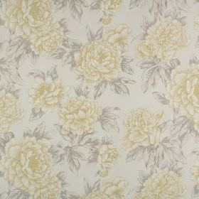 Penrose - Buttercup - Floral patterned 100% cotton fabric, featuring a busy but subtle design in pale shades of grey and yellow
