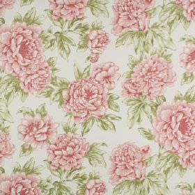 Penrose - Coral - Light, fresh pink and green colours making up a 100% cotton fabric with a pretty, feminine floral pattern