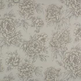 Penrose - Linen - Leaves and flowers printed in several light shades of grey on fabric made entirely from cotton