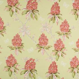 Ascot - Buttercup - Rose pink, grass green, off-white and pale yellow colours making up a floral and leaf pattern on 100% cotton fabric
