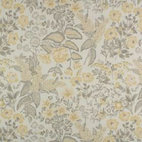 Winchester - Buttercup - Pale shades of yellow and grey making up a small, pretty, delicate floral pattern on fabric made from 100% cotton