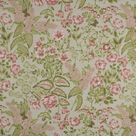 Winchester - Coral - Small, detailed flowers and leaves printed on 100% cotton fabric in pale grey, rich pink and forest green