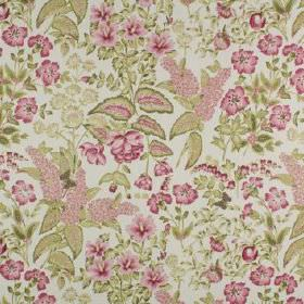 Winchester - Raspberry - 100% cotton fabric made in dark pink, olive green and pale grey, with flowers and leaves creating a small, detailed d