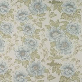 Wray - Mineral - 100% cotton fabric printed repeatedly with a pretty floral and leaf pattern in light, elegant blue and grey colours